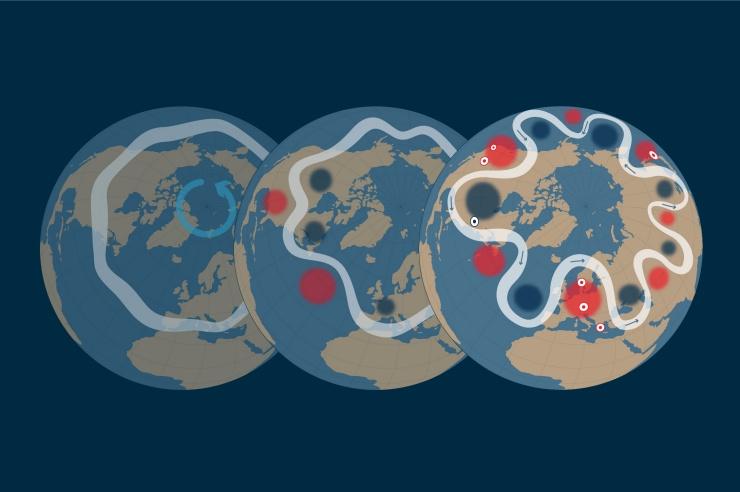 Drei Globen mit der Illustration des Jetsstream