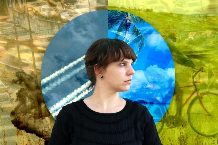 Eine junge Frau vor einer Collage
