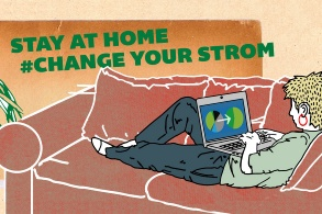 Logo Aktion «Stay at home – change your Strom»